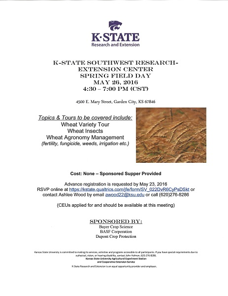 flyer for sw research center spring wheat tour